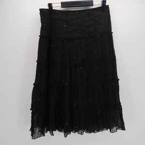 Star City Black Sequined Pleated Midi Skirt Size 5